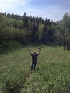 The author celebrating the end of the Swisher Trail